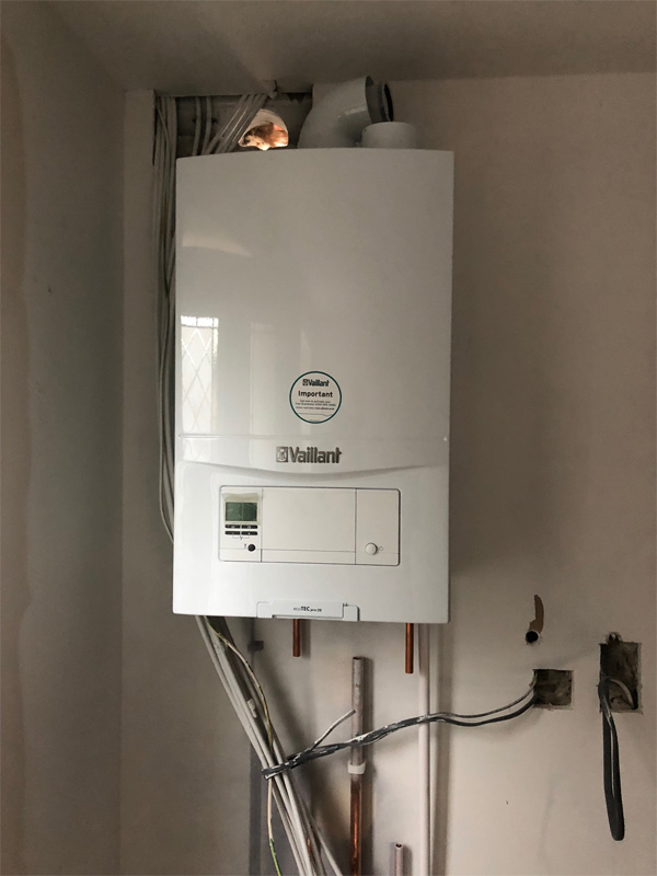 Second fix underway at Old Clinic Place. Vaillant boilers installed