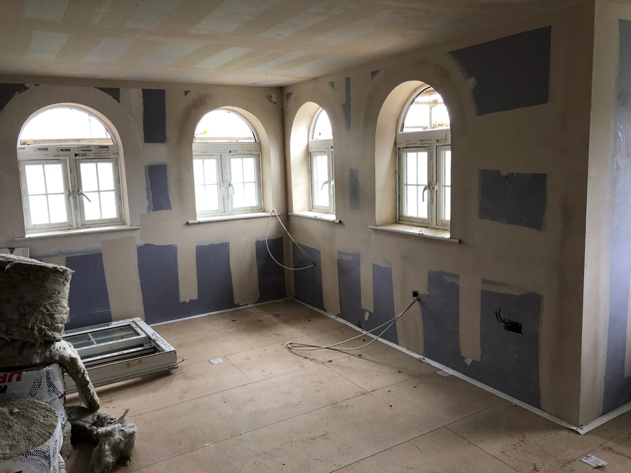 Drylining and sound proofing complete in plots 8 - 14